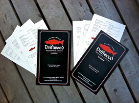 Driftwood Restaurant Menu Design by crowerks
