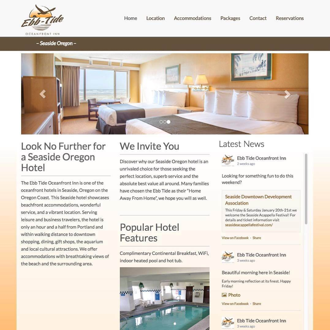The Ebb-Tide Oceanfront Inn came to us looking for new branding and website. Within a month, both were live