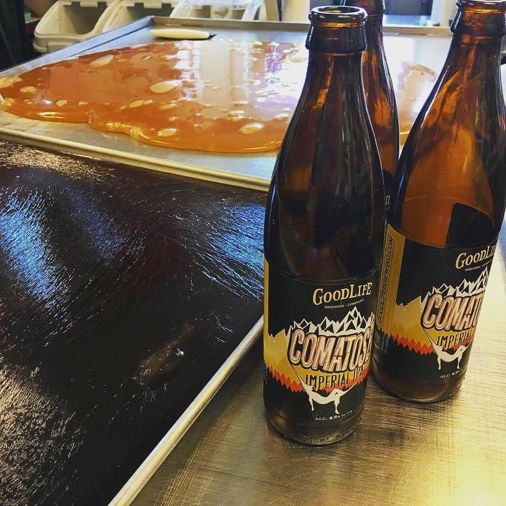 Stoked that two of our clients are collaborating! @brucescandykitchen making a batch of Comatose taffy with beer from @goodlifebrewing