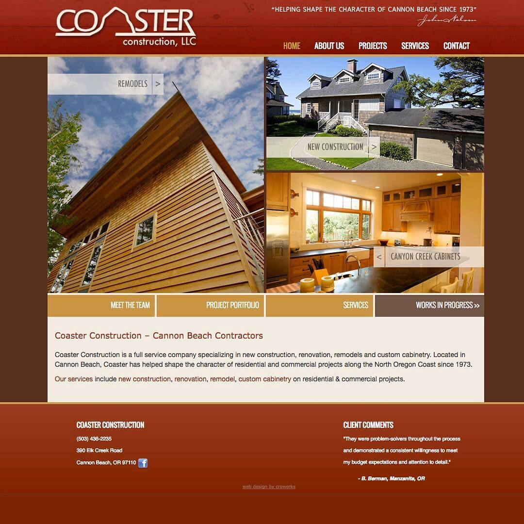Custom website design for Coaster Construction. They even keep the works in progress up to date weekly!