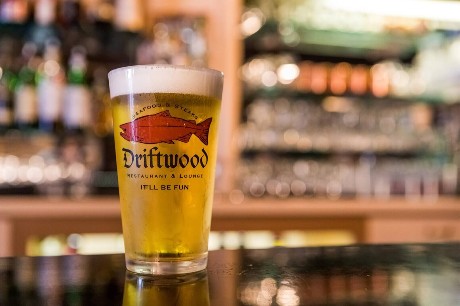 Beer at the driftwood