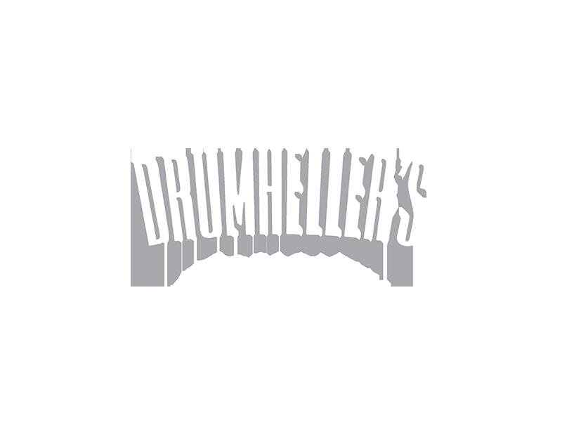 Drumheller's logo in white