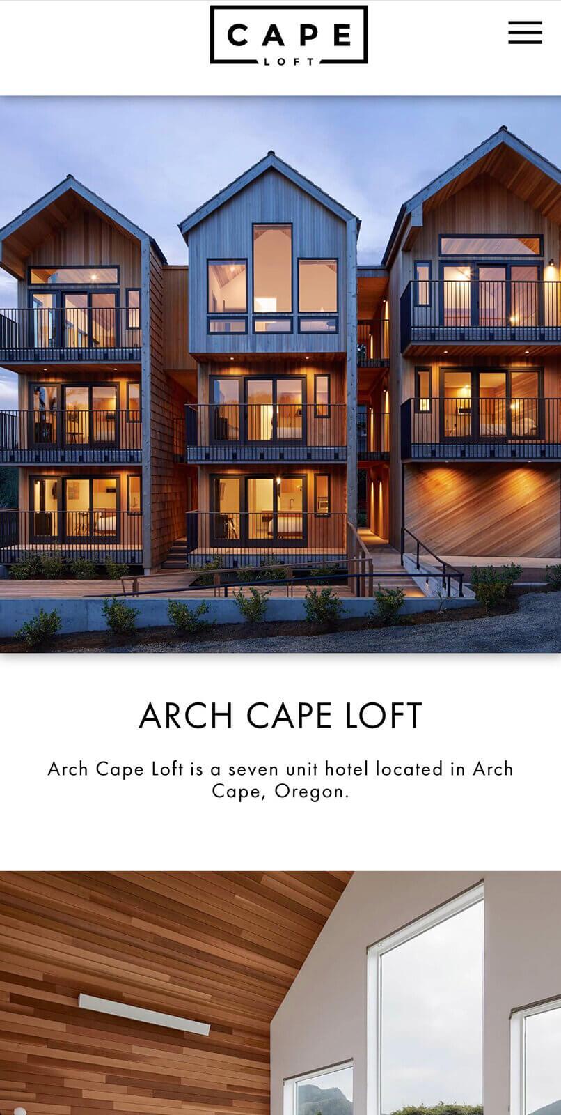 The cape loft in Arch Cape website