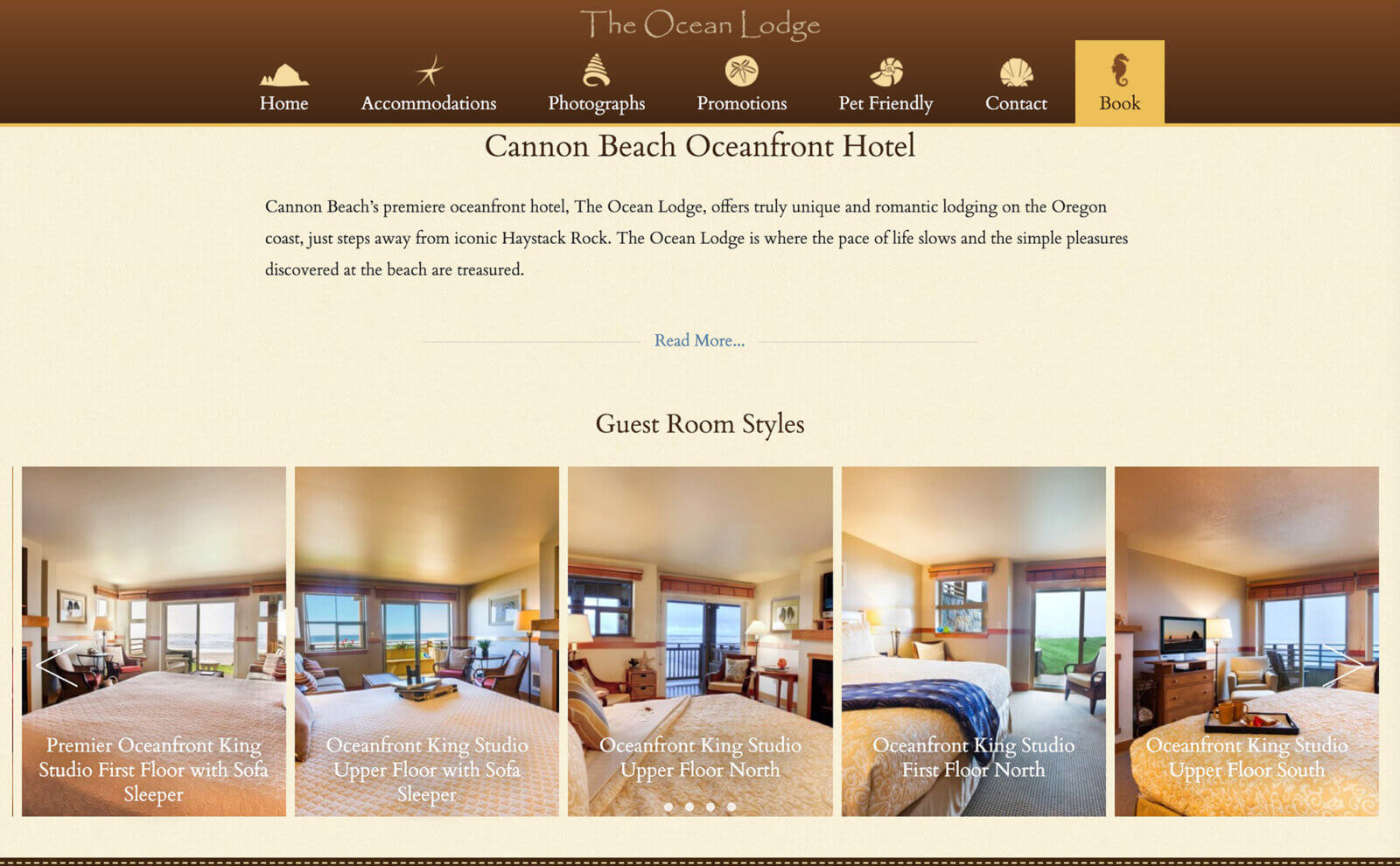 The Ocean Lodge website