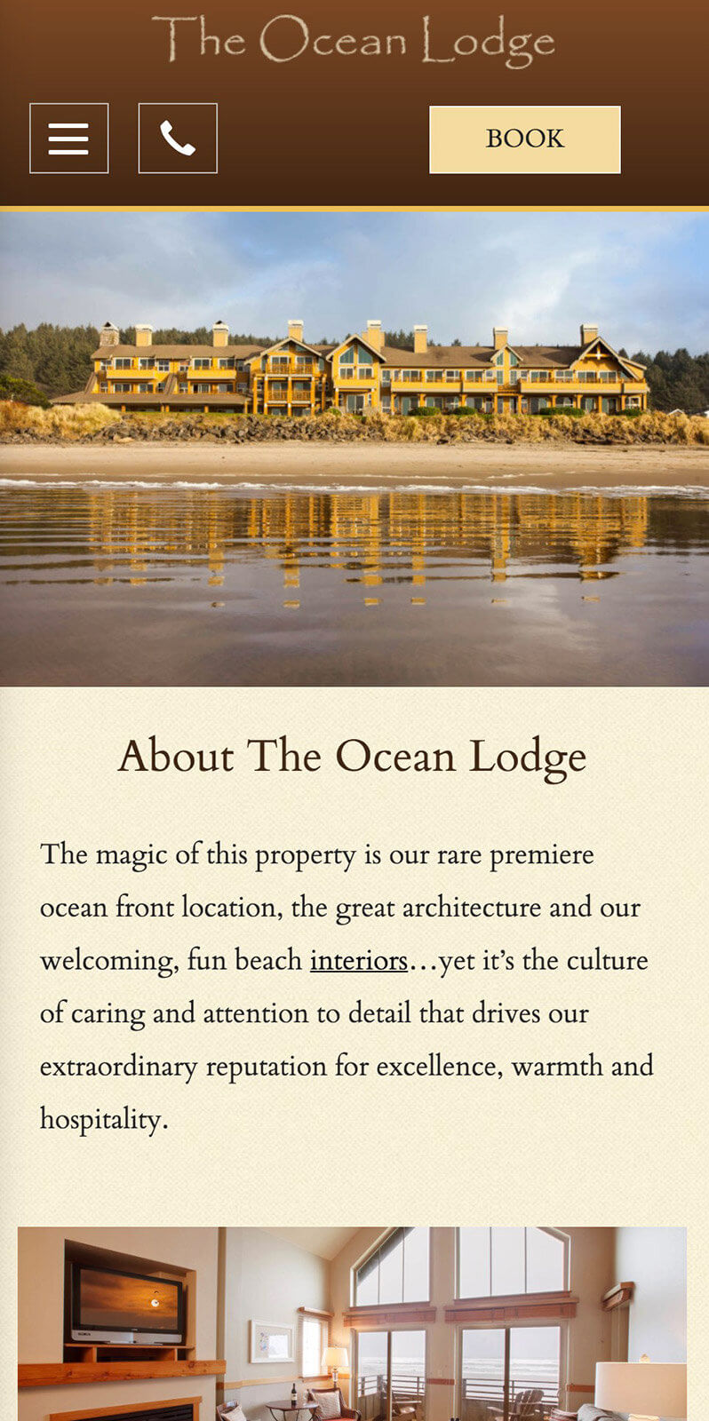 The Ocean Lodge mobile site