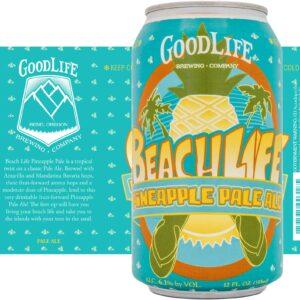 Crowerks design for GoodLife's Beach Life, Pineapple Pale Ale 12oz heat shrink sleeve beer label.