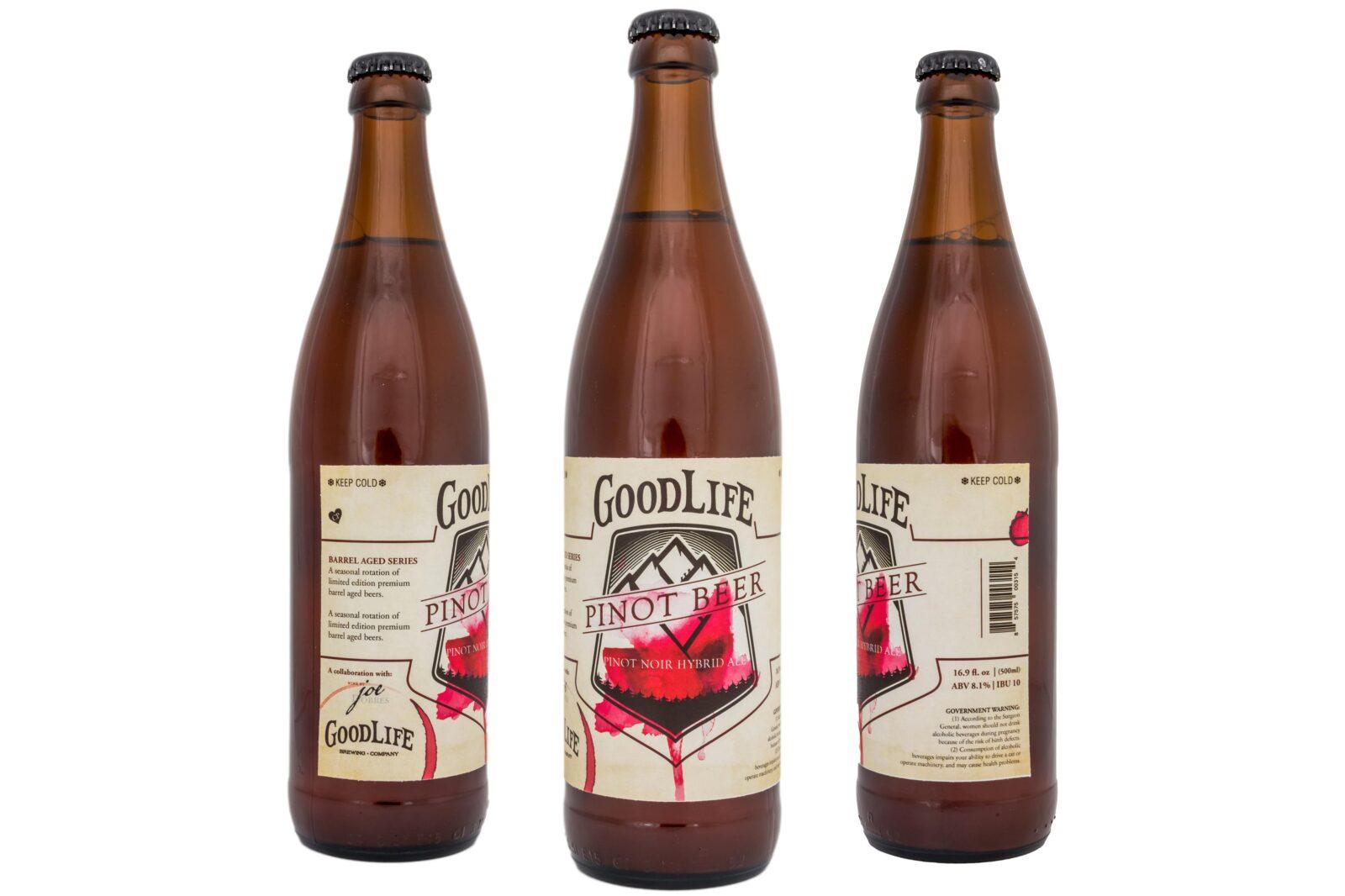Crowerks designed original artwork for GoodLife's Pinot Noir Hybrid Ale 16.9oz glass bottle label.