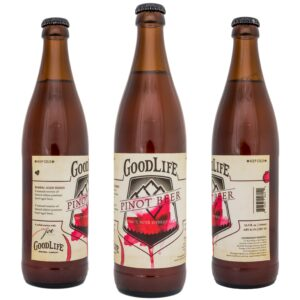 Crowerks designed original artwork for GoodLife's Pinot Noir Hybrid Ale 16.9oz glass bottle label.