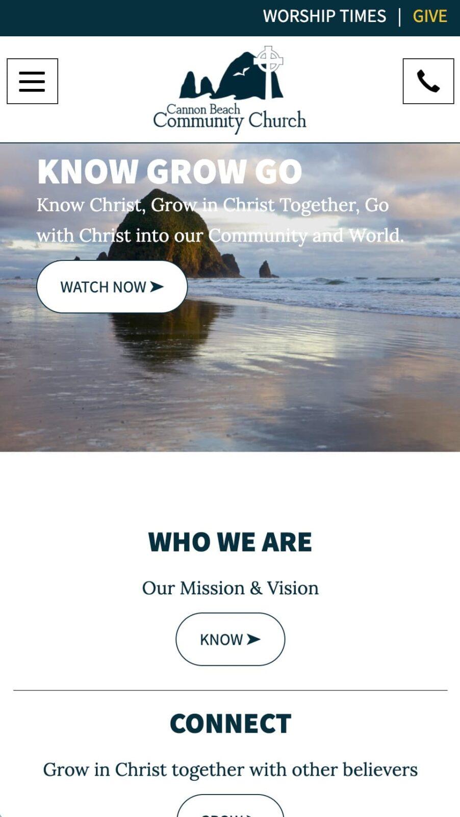 Cannon Beach Community Church mobile site