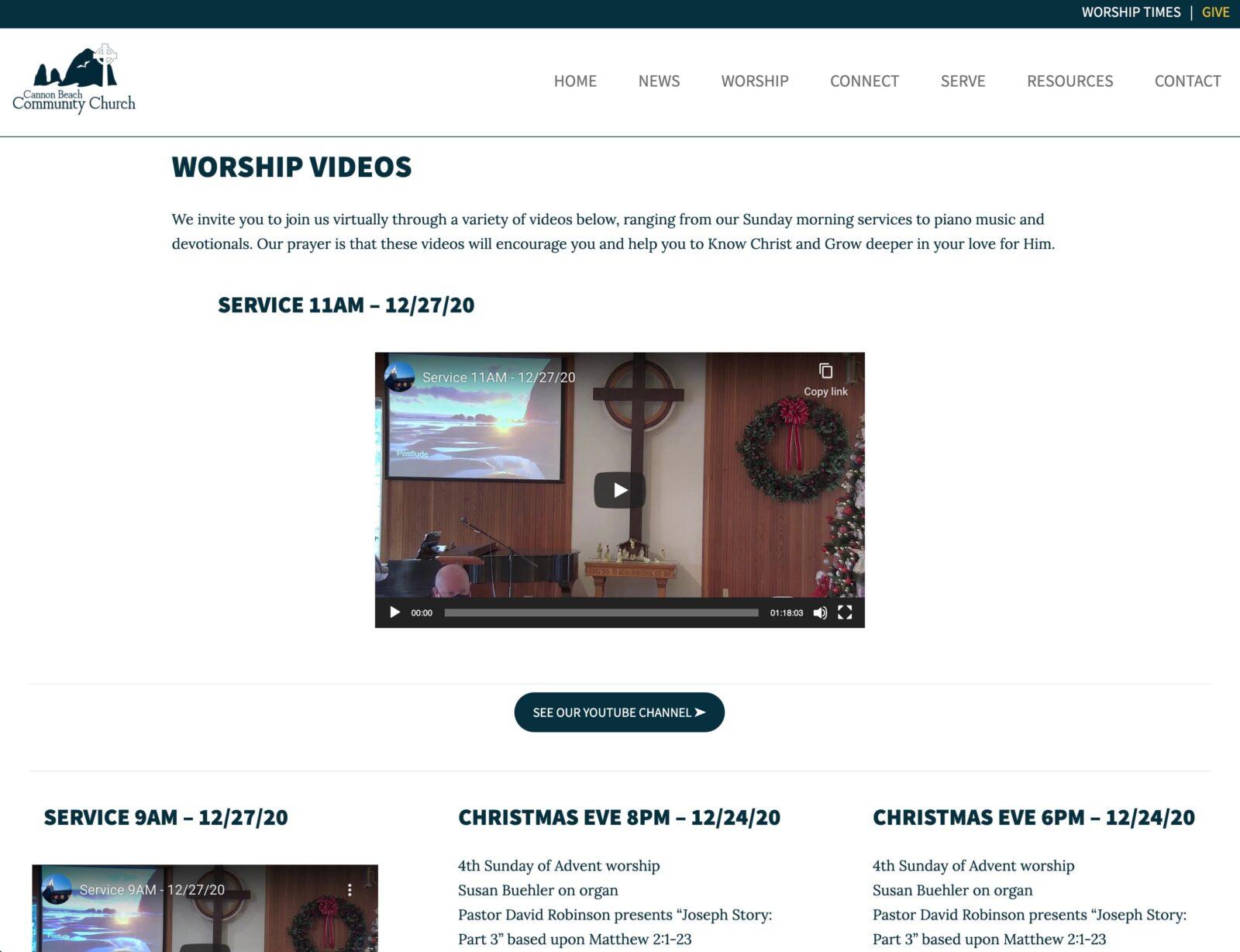 Worship videos of Cannon Beach Community Church