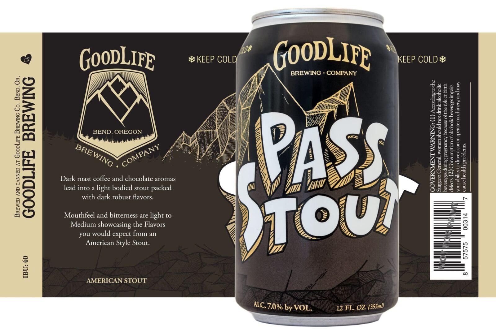 Pass Stout label and can