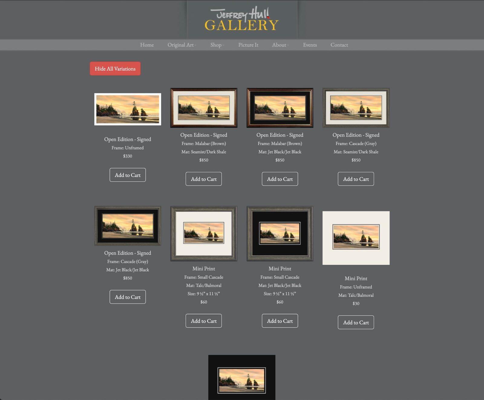 Jeffery Hull Gallery framing options